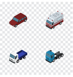 isometric transport set of first-aid lorry car vector image