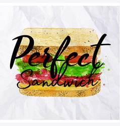 Perfect sandwich watercolor vector