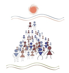 pyramidal geometry a lot of people march in the vector image vector image