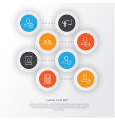Social icons set collection of bullhorn society vector