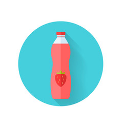 Strawberry juice flat style vector