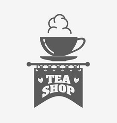 Tea shop logo badge or label design template with vector