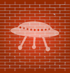 Ufo simple sign whitish icon on brick vector