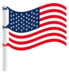 United States flag on a pole vector image vector image