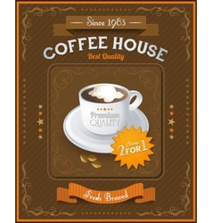 Vintage coffee house card vector