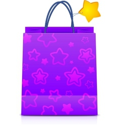 Violet gift paper bag with stars pattern vector image