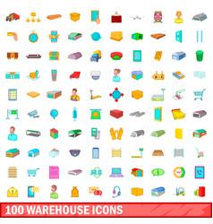 100 warehouse icons set cartoon style vector