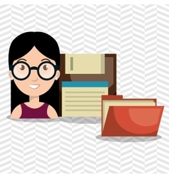Person floppy files system vector