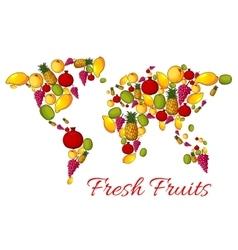 World map of fresh fruits vector image