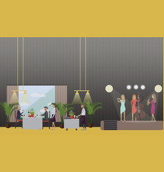 Musicians in restaurant in vector