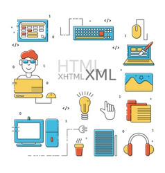 Html coder icons set vector