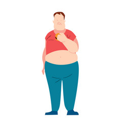 Fat man eating fast food vector