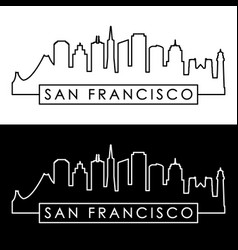 San francisco skyline linear style vector