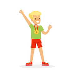 Young boy with a first place medal kid vector