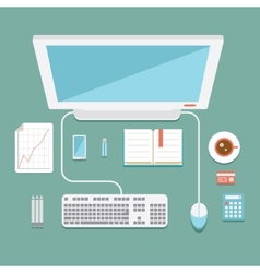 Office workstation in flat style vector