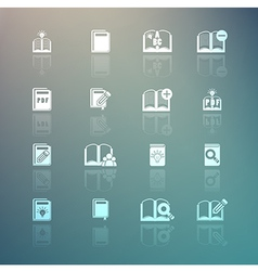 Set of books icons on retina background vector