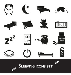 Sleeping time simple black icons set eps10 vector
