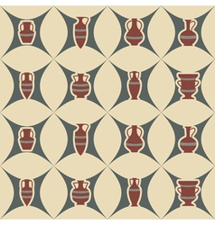 Seamless background with antique amphoras vector