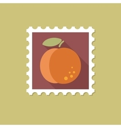 Peach flat stamp with long shadow vector