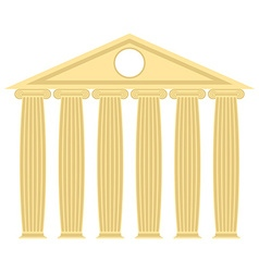 Greek temple with columns and roof of ancie vector