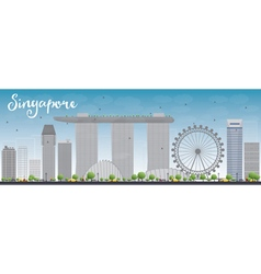 Singapore skyline with grey landmarks vector