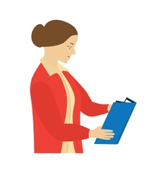 Woman reading a book teacher vector