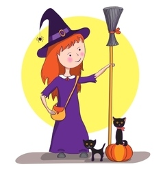 Picture for halloween little witch vector