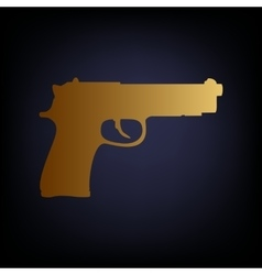 Gun sign golden style icon vector