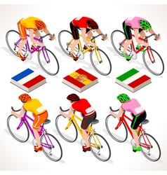 Cyclists 2016 tour isometric people vector