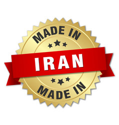 Made in iran gold badge with red ribbon vector