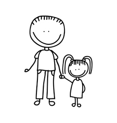 Father with daughter drawing isolated icon design vector
