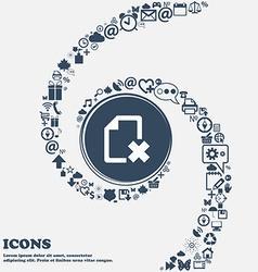 Delete file document icon sign in the center vector