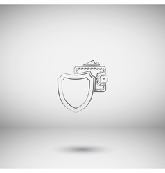 Wallet protection icon flat design vector