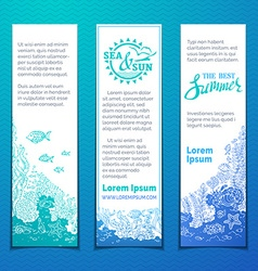 Marine life vertical banners set vector