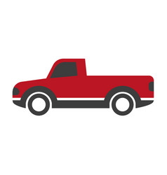 black and red pick-up truck vector image