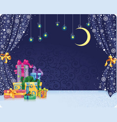 christmas holiday background with gifts on stage vector image