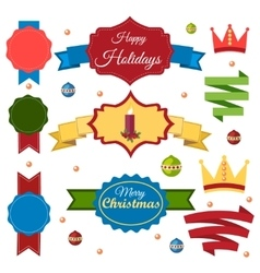 Christmas set of ribbons emblems and elements vector image vector image