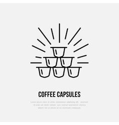Coffee capsules line icon barista vector