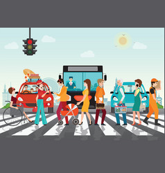 crosswalk path on the road with cars vector image vector image