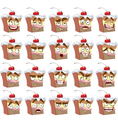 Cute smiles delicious cake with different emotions vector