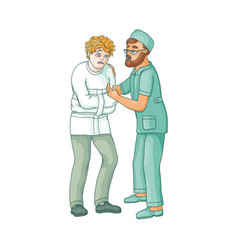 Flat doctor hugging mental patient vector