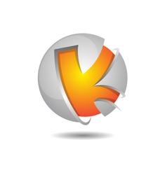 Glosst K Sphere Logo Template vector image