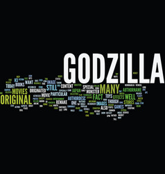 Godzilla text background word cloud concept vector