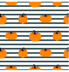 halloween pumpkin seamless striped pattern vector image
