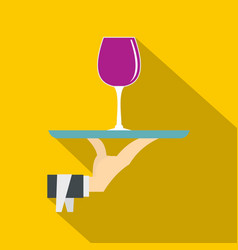 hand holding tray with a glass of red wine icon vector image vector image