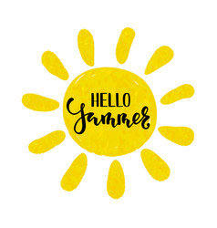 Hello summer hand drawn calligraphy and brush pen vector