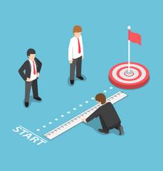 Isometric businessman measuring distance between vector