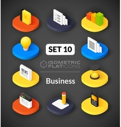 Isometric flat icons set 10 vector image