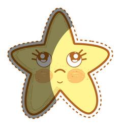 kawaii thinking star with cute eyes vector image