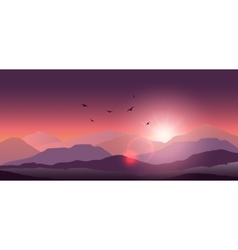 Mountain landscape at sunset and dawn vector image vector image